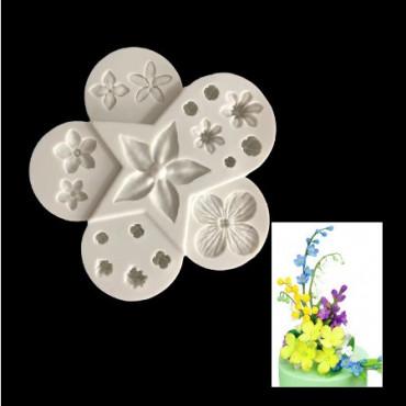 Forma silikonowa do dekoracji z masy cukrowej KWIATY 9216