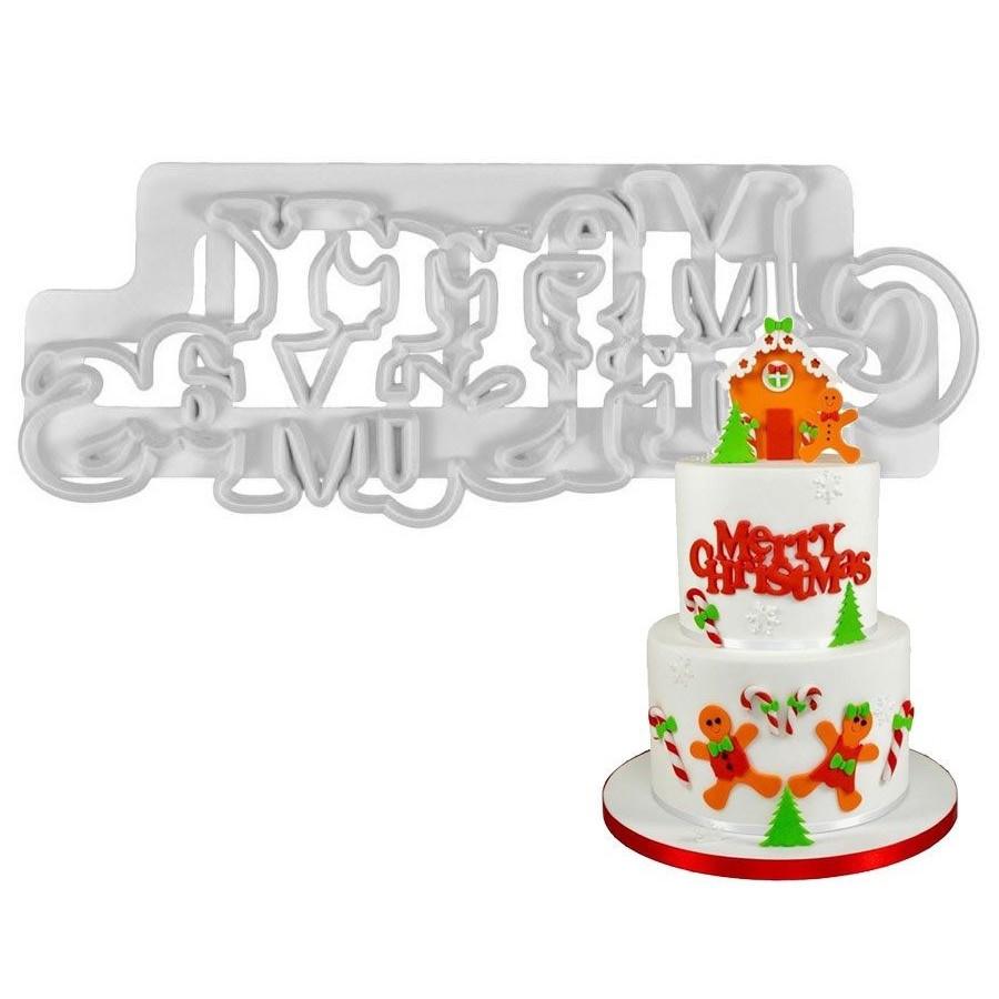 Foremki na listwie do dekoracji z masy cukrowej Merry Christmas 9249