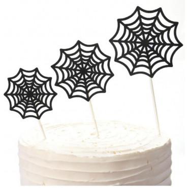 Topper na tort brokatowy PAJĘCZYNA 3szt 9251