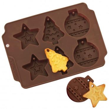 Forma do pieczenia ciastek, silikonowa, świąteczna, bombki, choinka, gwiazda 151767