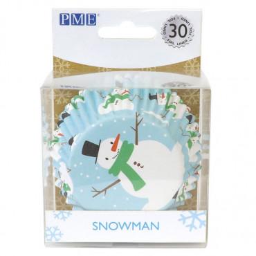 PME Papilotki do babeczek foliowane CHRISTMAS SNOWMAN 30szt BC803