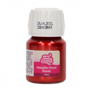 Fun Cakes Farbka metaliczna do malowania RED CZERWONA F45125